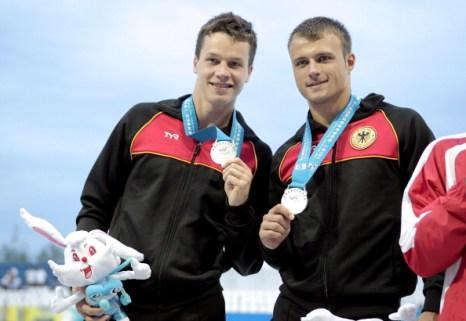 Серебро завоевали спортсмены из Германии Патрик Хосдинг и Саша Клейн. Фото:  Feng Li/Adam Pretty/Getty Images