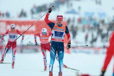 Российский лыжник Вылегжанин — серебряный призёр гонки на 50 км Олимпиады «Сочи-2014». Фото: Geir/AFP/Getty Images