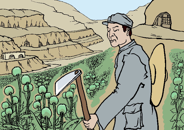 КПК называла Яньань революционной «святой землёй». Там выращивался опиум, доход от которого был финансовой поддержкой для партии в ранние годы её существования. Иллюстрация: Великая Эпоха (The Epoch Times)