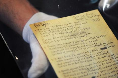 Рукописный текст Боба Дилана