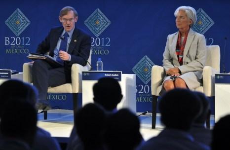 Президент Всемирного банка Роберт Зейлик и глава МВФ Кристин Лагард на встрече G20 в Лос-Кабосе, Мексика. Фото: CRIS BOURONCLE/AFP/GettyImages