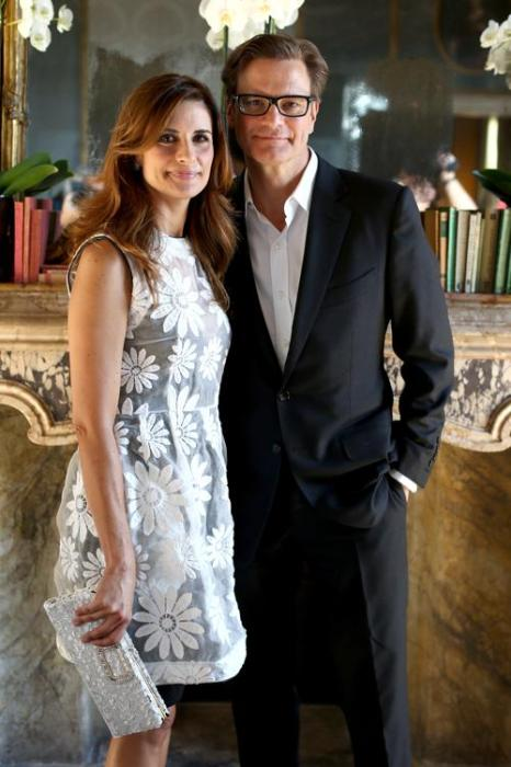 Британский актёр Колин Ферт со своей супругой Ливией Ферт на фотосессии, организованной знаменитой швейцарской ювелирной компанией Chopard во дворце кино Palazzo del Cinema 3 сентября 2013 года. Фото: Andreas Rentz/Getty Images