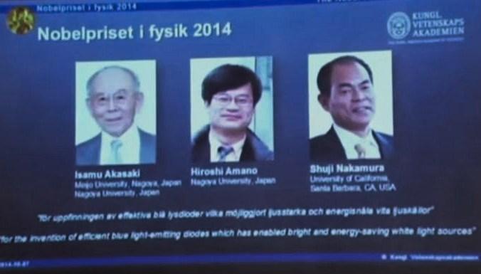 Изобретатели дешёвых синих светодиодов получили Нобелевскую премию