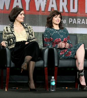 PASADENA, CA - JANUARY 17:  Actresses Shannyn Sossamon (L) and Carla Gugino speak onstage during the 'Wayward Pines' panel discussion at the FOX portion of the 2015 Winter TCA Tour at the Langham Hotel on January 17, 2015 in Pasadena, California.  (Photo by Frederick M. Brown/Getty Images)