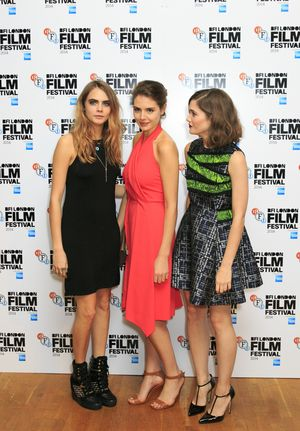 "LONDON, ENGLAND - OCTOBER 18:  Cara Delevingne, Genevieve Gaunt and Sai Bennett attend the red carpet arrivals of ""Face Of An Angel"" during the 58th BFI London Film Festival at Odeon West End on October 18, 2014 in London, England.  (Photo by John Phillips/Getty Images for BFI)"