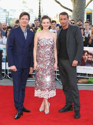 """LONDON, ENGLAND - APRIL 15:  (L-R) Director Thomas Vinterberg, actress Carey Mulligan and actor Matthias Schoenaerts attend the World Premiere of """"Far From The Madding Crowd"""" at BFI Southbank on April 15, 2015 in London, England.  (Photo by Chris Jackson/Getty Images)"""