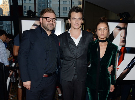 """NEW YORK, NY - AUGUST 13:  Director Aleksander Bach poses with actors Rupert Friend and Hannah Ware at the New York premiere of """"Hitman Agent 47"""" at AMC Empire 25 theater on August 13, 2015 in New York City.  (Photo by Ben Gabbe/Getty Images)"""