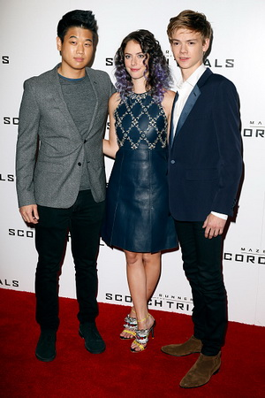 "LONDON, UNITED KINGDOM - SEPTEMBER 7: Ki Hong Lee Minho, Kaya Scodelario and Thomas Brodie-Sangster attend the ""Maze Runner: The Scorch Trials"" - UK Fan Event on September 7, 2015 in London, England. (Photo by Alex B. Huckle/Getty Images)"
