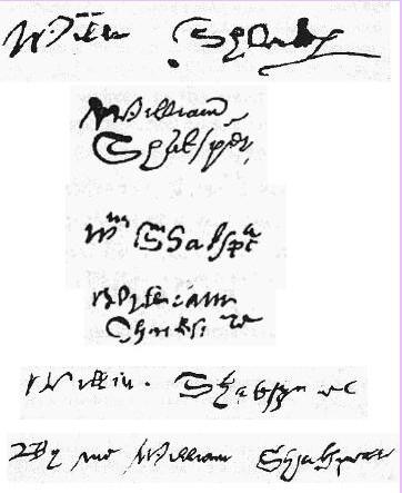 Известные сейчас автографы Шекспира. Фото: Bascon/wikipedia.org/public domain