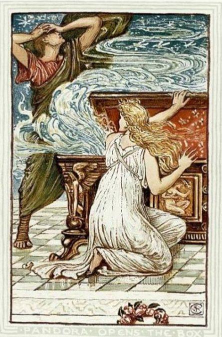 «Пандора открывает ящик», Уолтер Крейн. Фото: Wikimedia Common