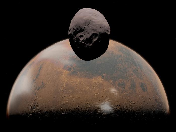 Марс и Фобос. Фото: NASA