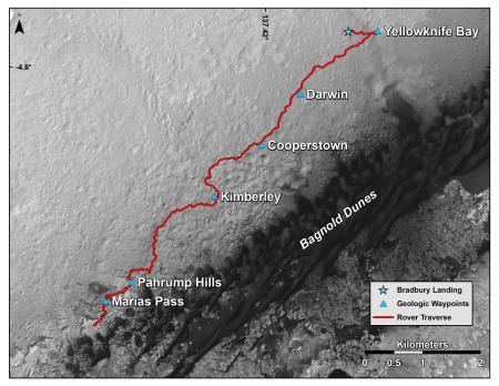 Карта показывает маршрут марсохода с 2012 по 2015 год. Фото: NASA