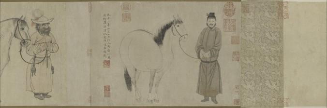 «Конюхи и лошади», Чжао Линь, Чжао Мэнфу (1254–1322), Чжао Юн, династия Юань (1271–1368), между 1296 г. и 1359 г., тушь и краски на бумаге. Фото: Courtesy of The Metropolitan Museum of Art