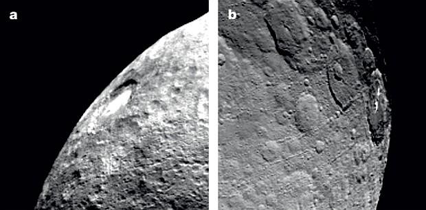 Дымка в кратере Оккатор на рассвете (слева). К закату (справа) она полностью рассеивается. Фото: NASA
