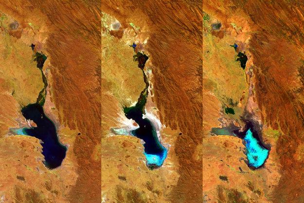 Cпутник ЕКА Proba-V отслеживает обмеление озера Поопо. Фото: ESA
