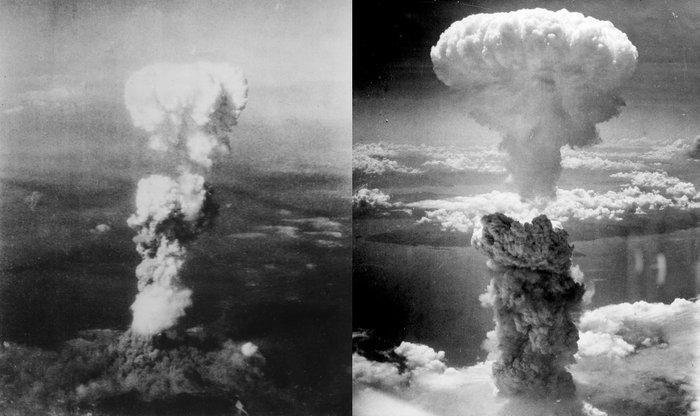 Ядерный гриб над Хиросимой (слева) и Нагасаки (справа). Фото: ru.wikipedia.org