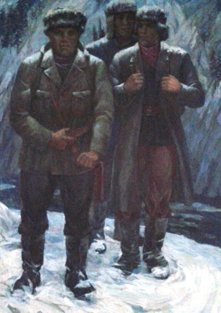 Картина Г. А. Фролова «Три изыскателя: А. Кошурников, К. Стофато, А. Журавлёв»