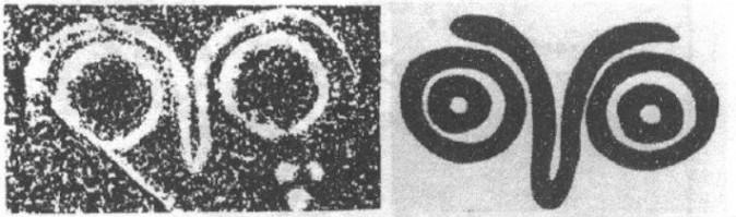 Слева: петроглиф в Ляньюнагане, Китай, фрагмент из доклада Суна 1998 г. Справа: петроглиф в Британской Колумбии, Канада.