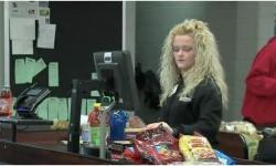 девушка, кассир, блондинка, супермаркет