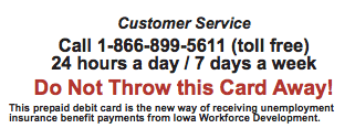 Iowa Unemployment Card