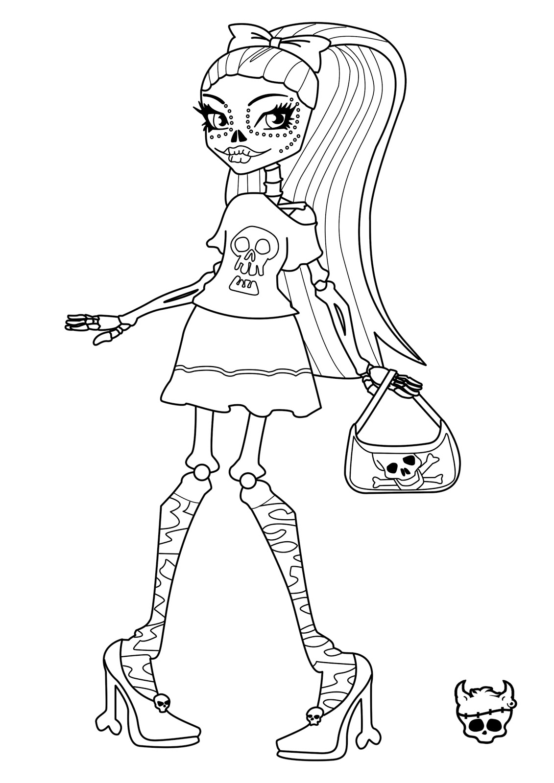 Tattoo Monster High Skelita Coloring Pages Free Printable Coloring