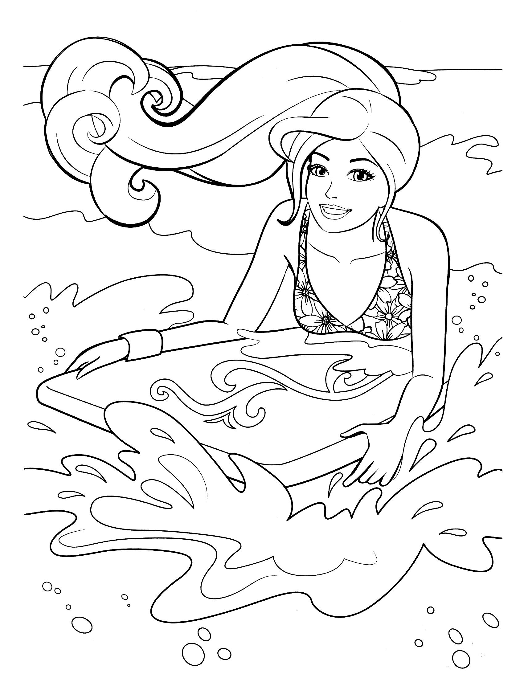Surf On Beach Coloring Pages Barbie Coloring Pictures