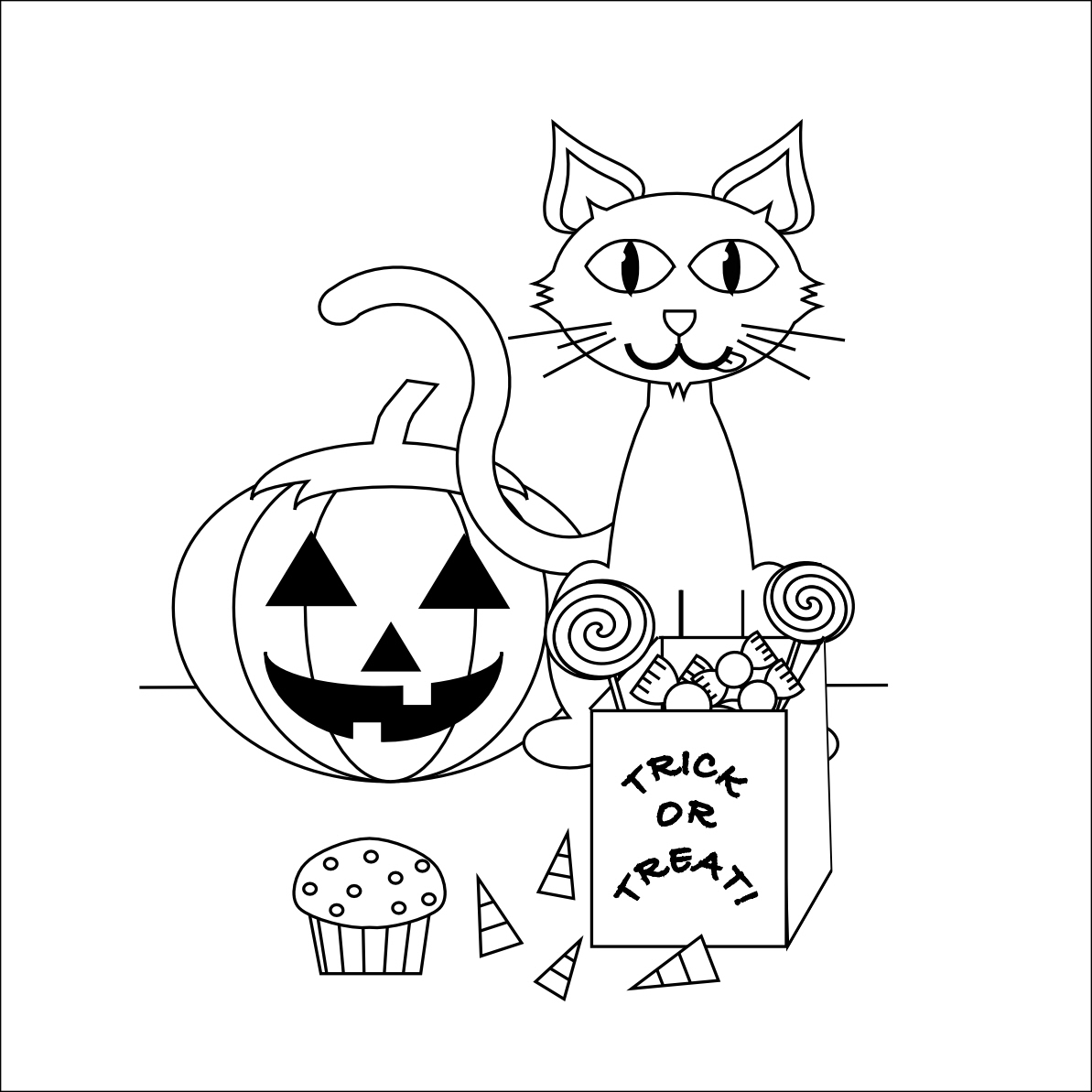 Cute Cat Halloween Coloring Pages Free Printable Coloring