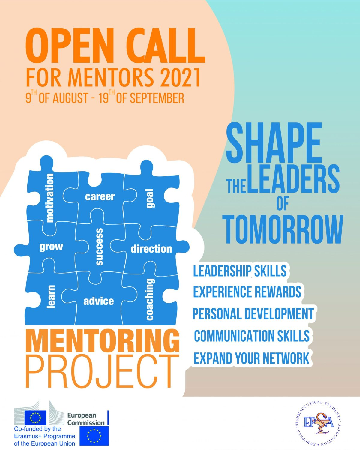 Open Call for mentors 2020 9th of August to 19th of September