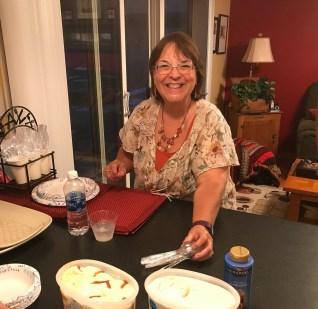 August hostess Connie Quiring