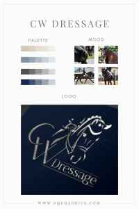 Dressage Horse Logo With Bold CW Lettering