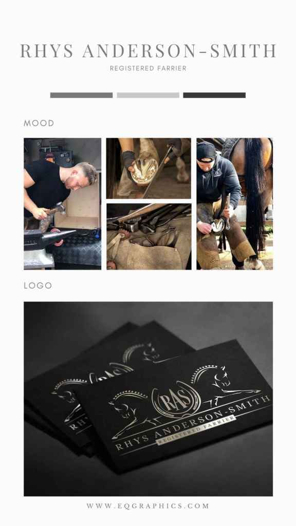 Masculine & Professional Hand Drawn Logo Design for Performance Horse Farrier