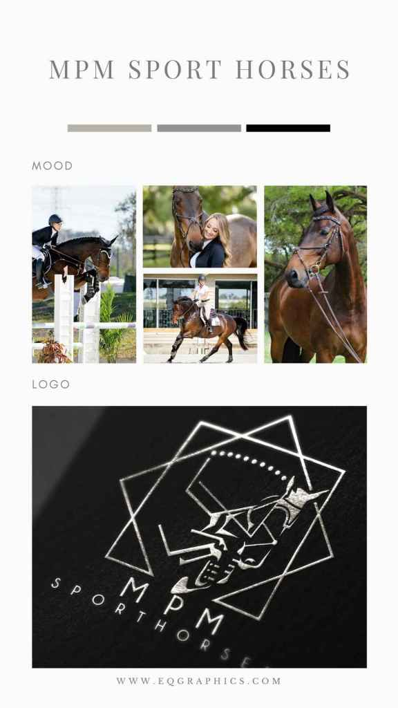 Fashionable Geometric Horse Logo for Trendy Equestrian Influencer & Horse Trainer