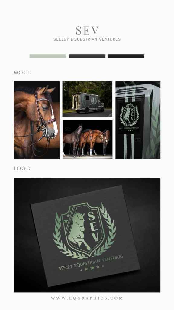 Dressage Horse Silhouette Adorned by Olive Branch In Professional Custom Logo