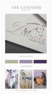 Horse logo integrated with lavender sprig, modern font, and braided line art