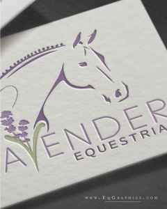 Line art horse logo design with lavender sprigs and farm photography showcasing lavender fields