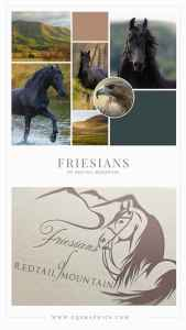 Sophisticated Friesian Stallion Logo Inspired by TN Mountains
