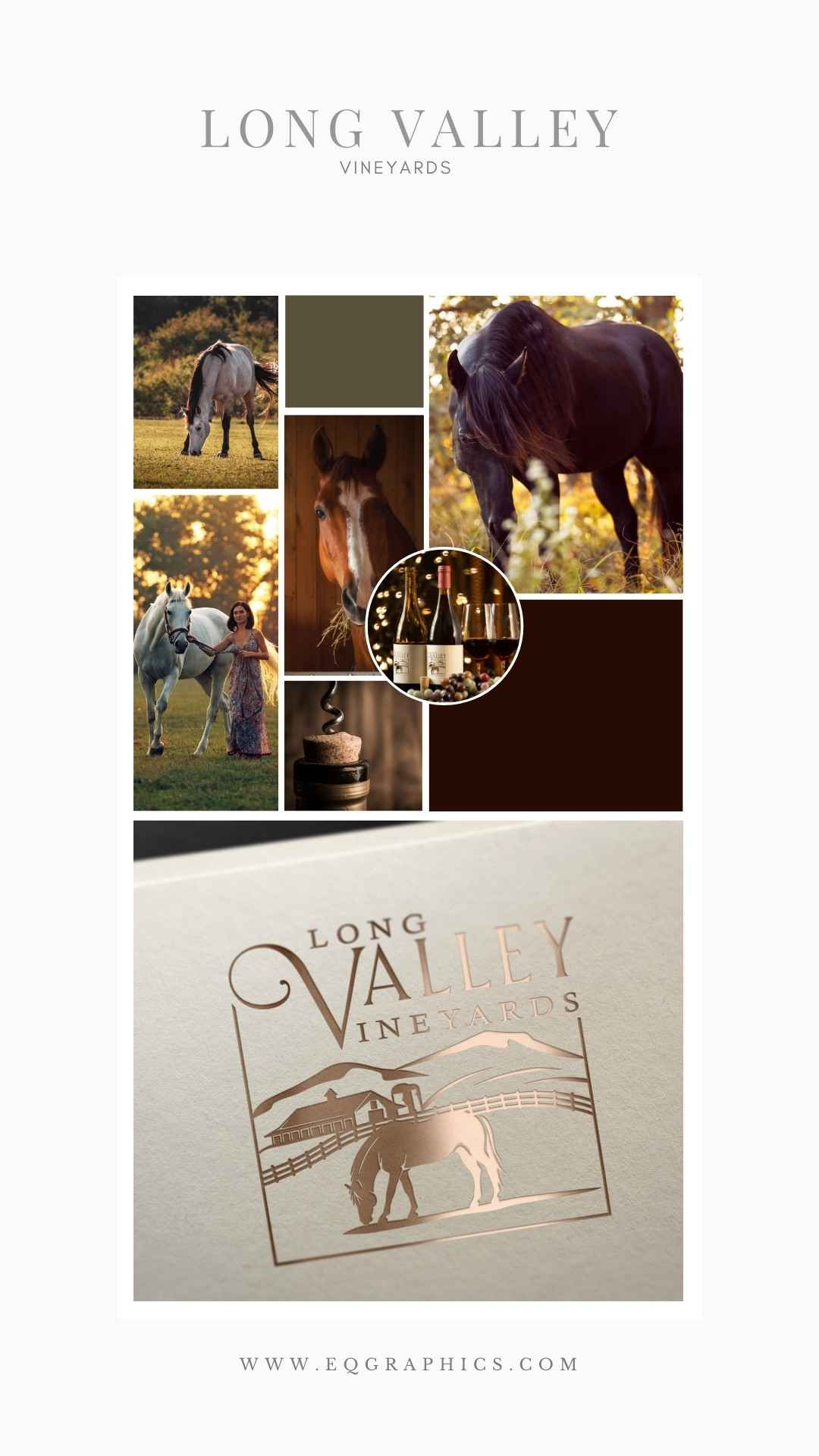 Horse illustration for a wine logo by EQ Graphics