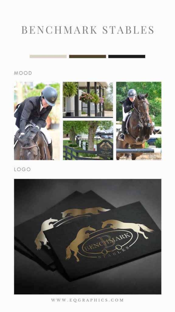 Elegant Show Jumping Logo in Traditional Gold Foil