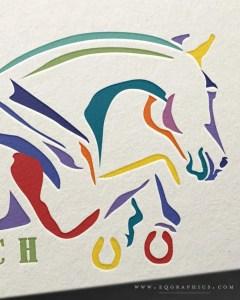 Bold, Colorful Hunter/Jumper Logo Design for Boutique Breeder