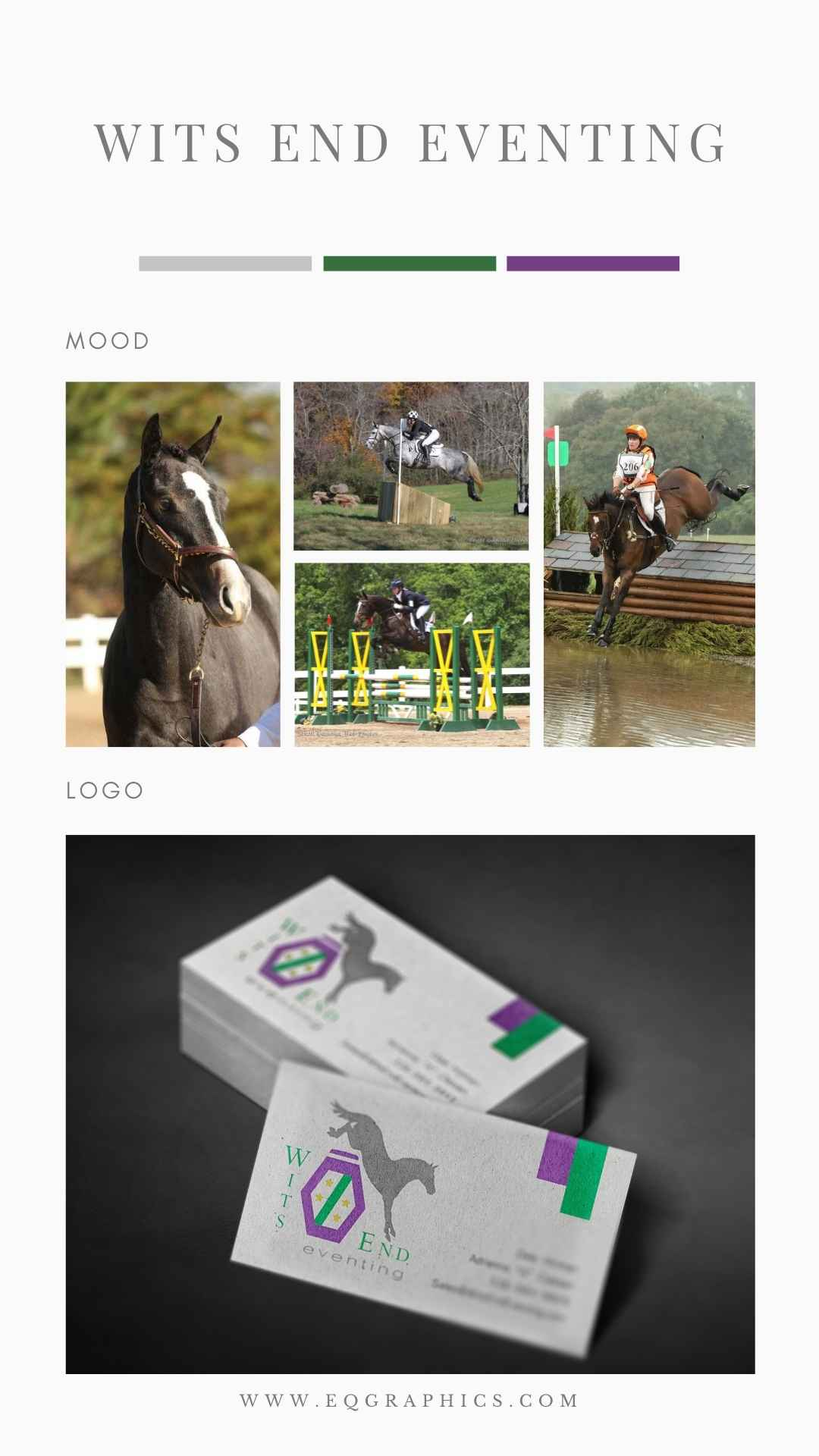 Purple, green, yellow and grey eventing colors in a Logo Design With Eventer Landing Cross Country Jump