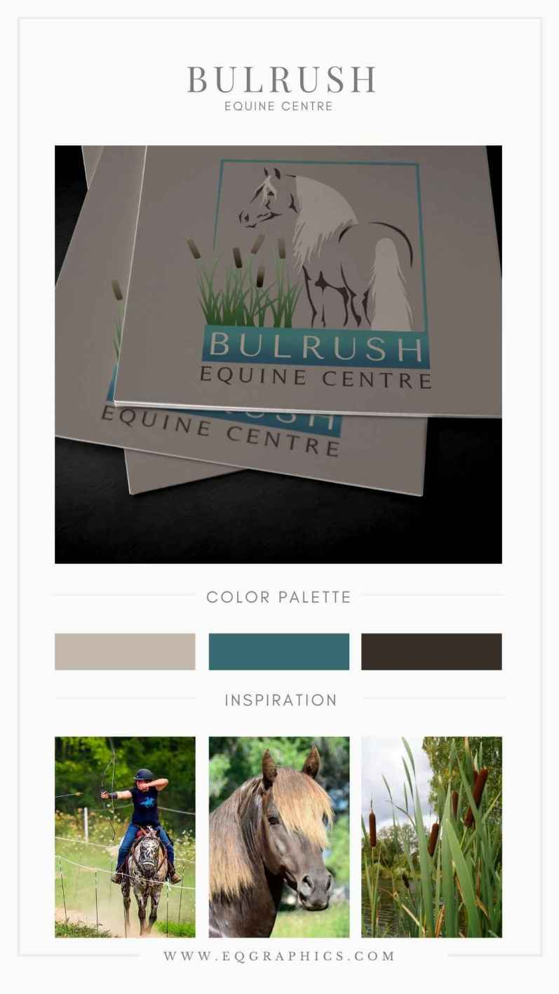 Earthy Gradient Paired With Cattail Silhouette & Morgan Horse Logo Design
