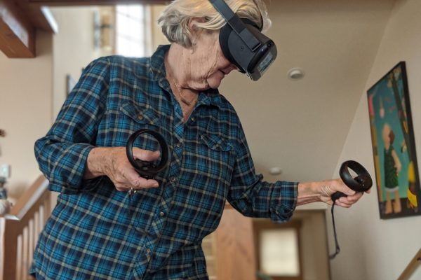 Women in her 50s using Virtual Reality Diversity Inclusion Training Equity Equality Empathy Immersive Learning