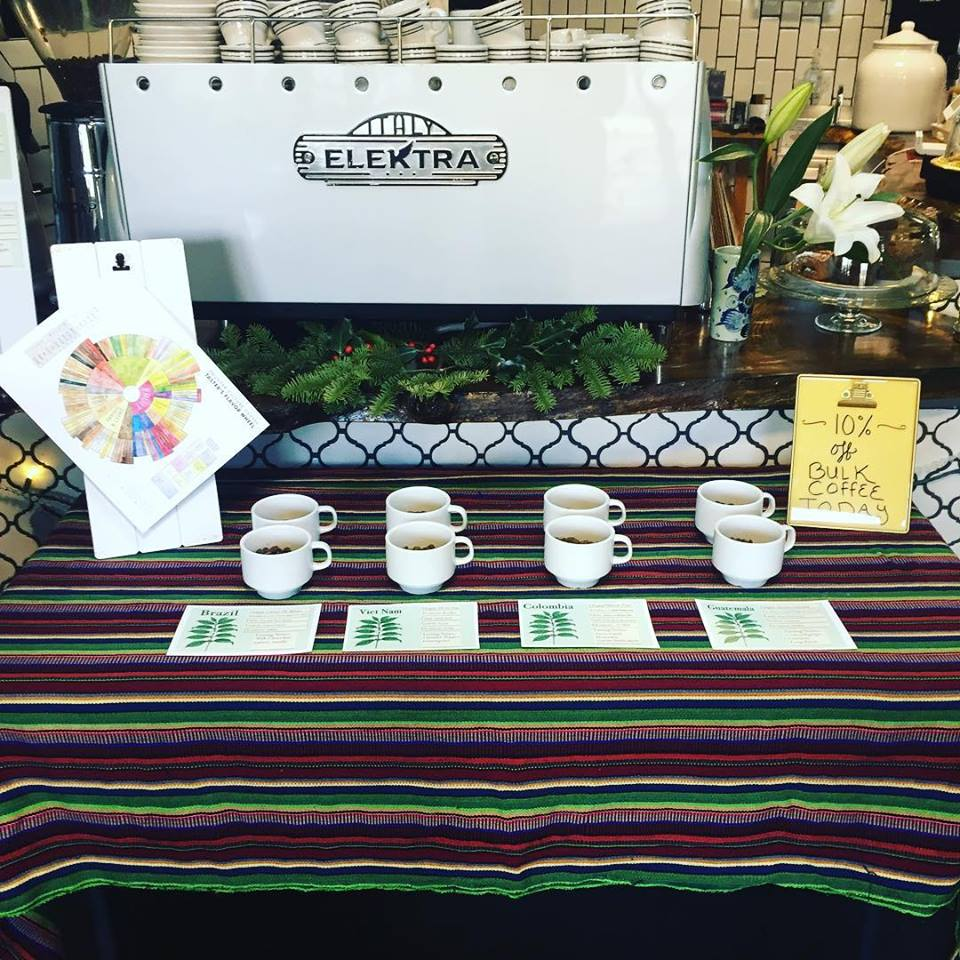 Coffee tasting event at the Equiano Coffee tasting room in Eugene, Oregon.