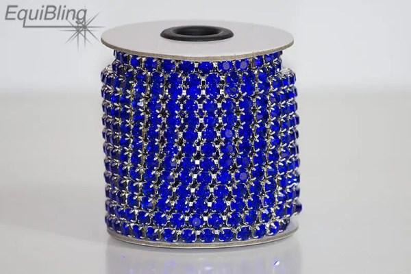 6mm strassketting donkerblauw