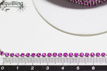 3mm strassketting fuchsia