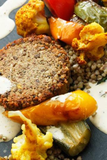 Burger probiotique de lentilles, courgette et amandes