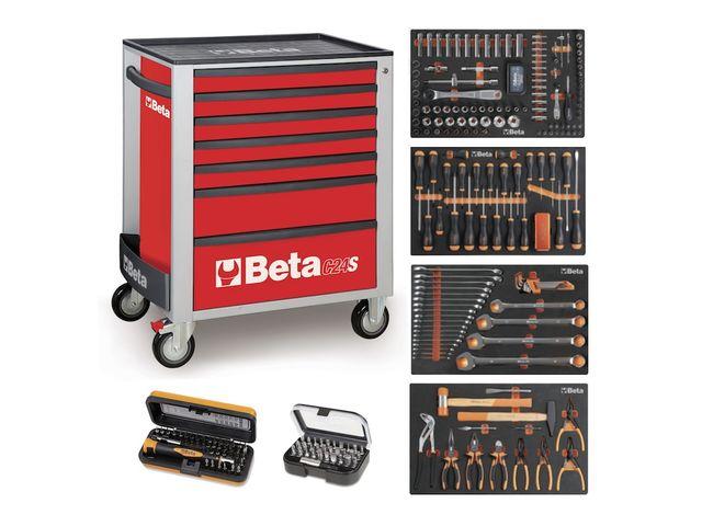 servante mobile d atelier 7 tiroirs beta c24s 7 compo 235 outils rouge de la marque beta