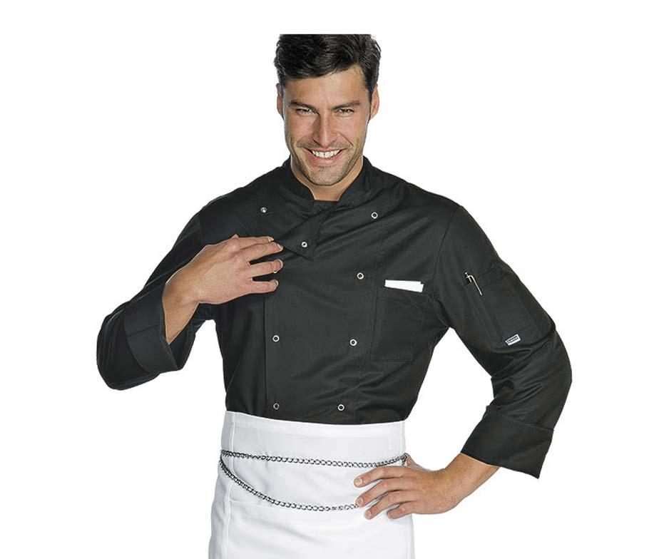 Chaqueta de cocina en blanco con cierre corchetes isacco for Chaquetas de cocina originales