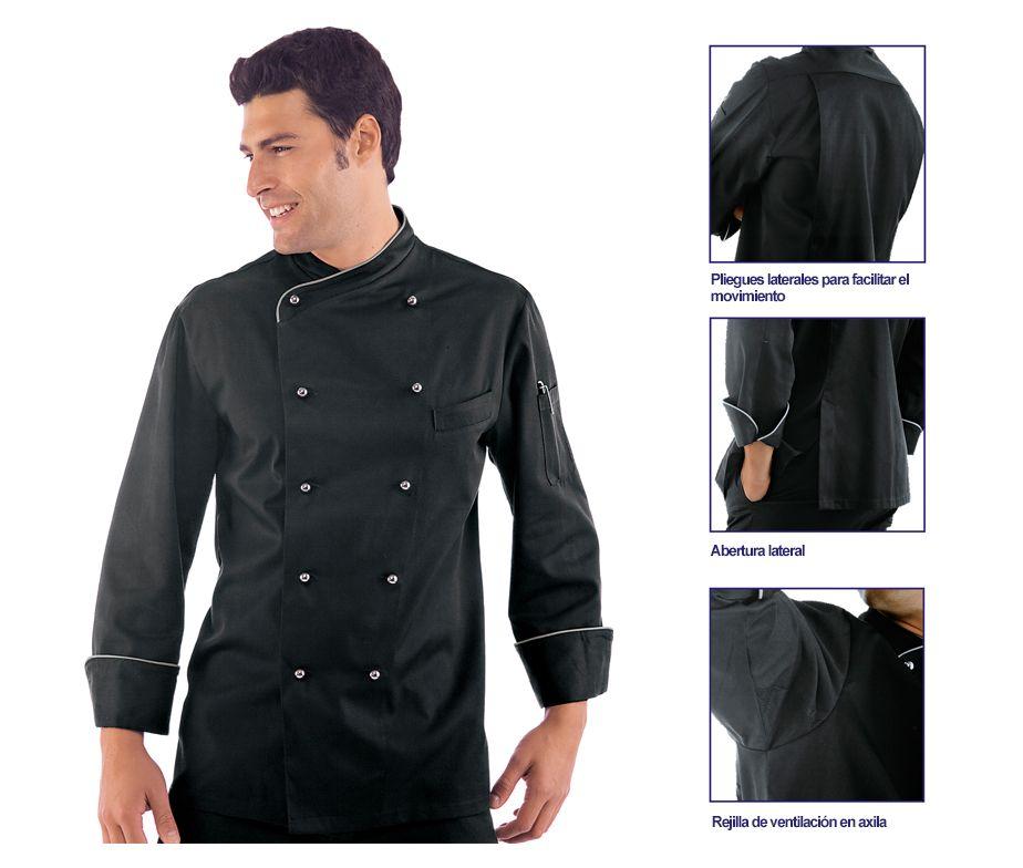 Chaqueta de cocinero en negro y botones plateados isacco for Chaquetas de cocina originales