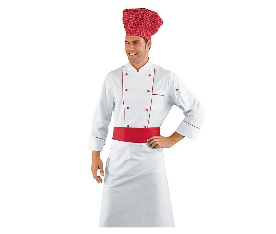 Delantal franc s cocinero blanco con franja roja delantal for Chef en frances